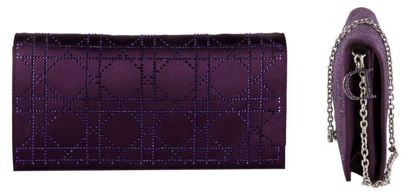 Dior Purple Cannage Quilted Satin Clutch