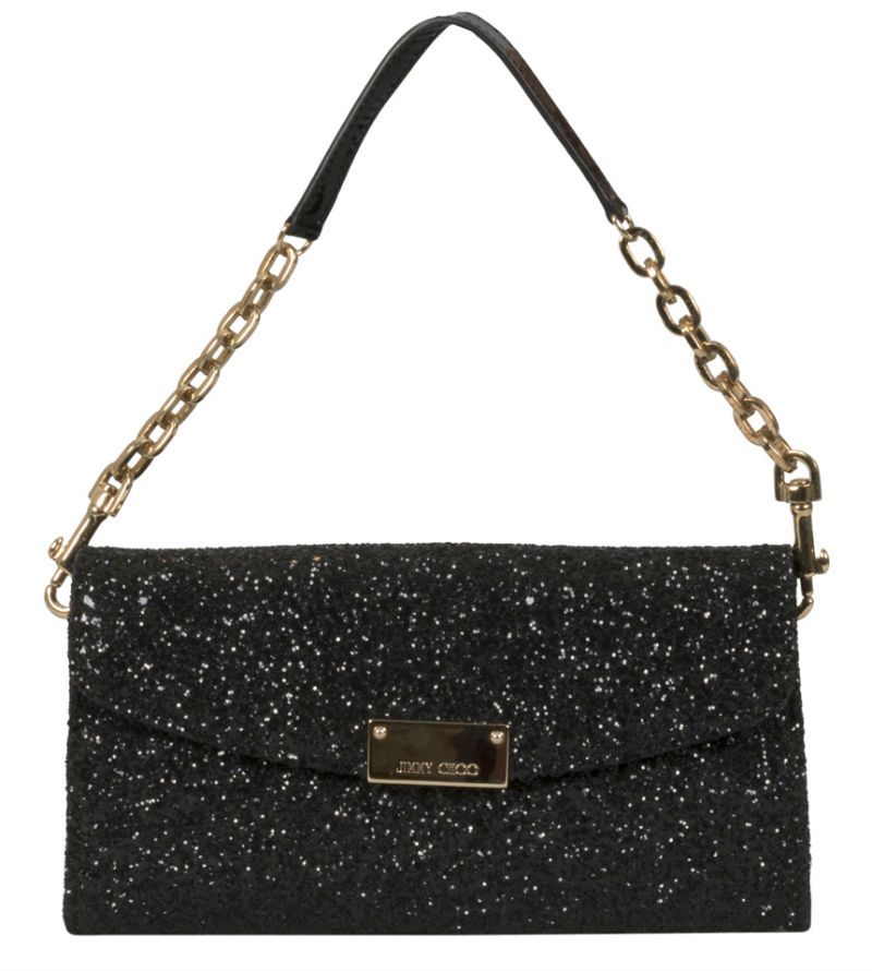 Jimmy Choo Black Lame Glitter Riane Clutch