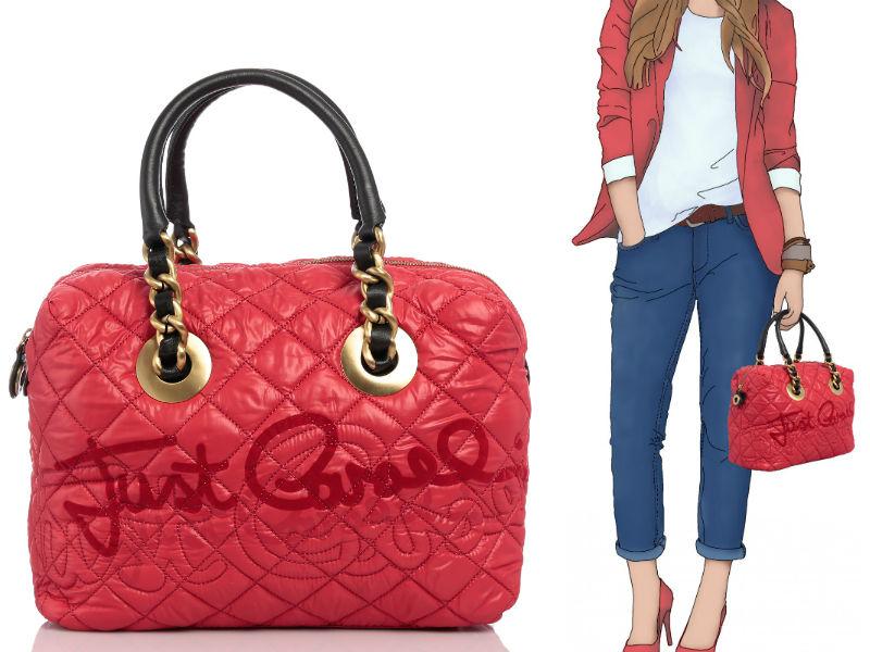 Just Cavalli Red Quilted Graffiti Handbag