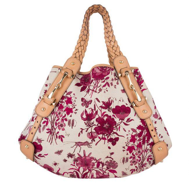 Gucci Floral Canvas Horsebit Pelham Shoulder Bag