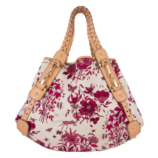 Gucci Floral Canvas Horsebit Pelham Shoulder Bag