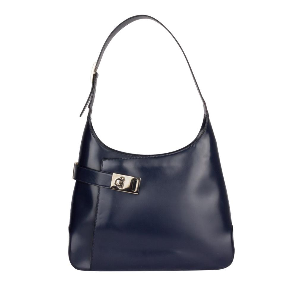 Salvatore Ferragamo Dark Blue Patent Leather Gancio Hobo Handbag 150648737218f