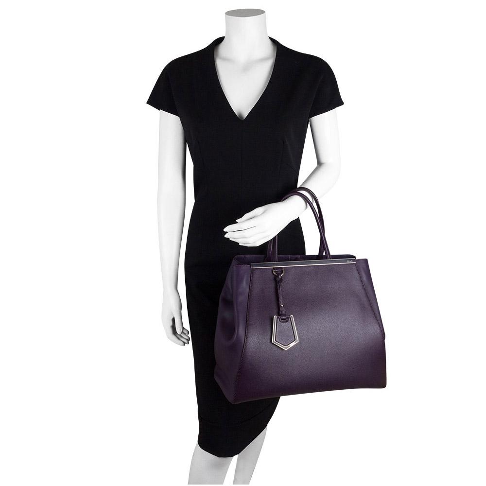 f67443127b Fendi Purple Saffiano Leather 2Jours Tote Handbag