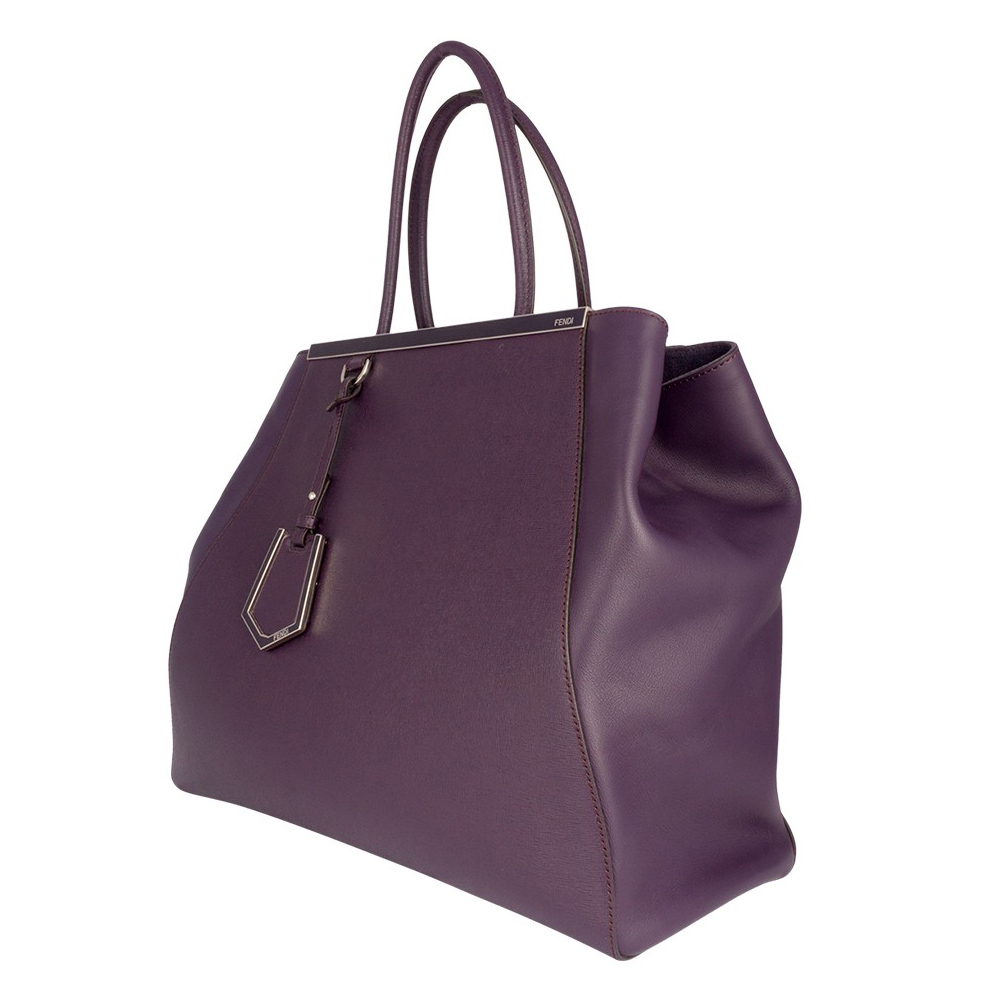 f67443127b Fendi Purple Saffiano Leather 2Jours Tote Handbag