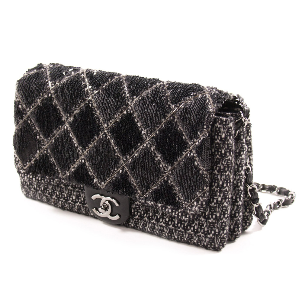 288bfff6021852 CHANEL BLACK AND WHITE SEQUIN AND TWEED FLAP HANDBAG