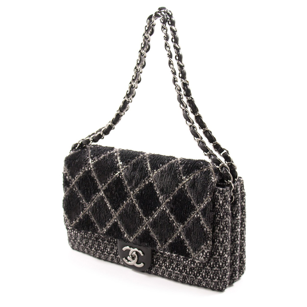 812102927e7d CHANEL BLACK AND WHITE SEQUIN AND TWEED FLAP HANDBAG