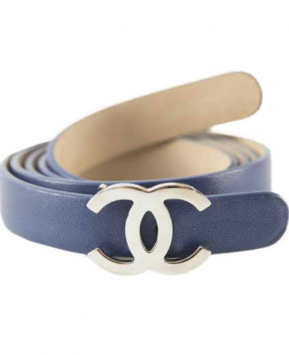 Chanel Blue Leather Belt