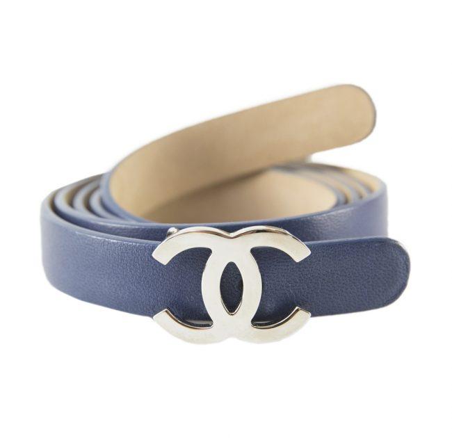 Chanel Blue Leather Belt