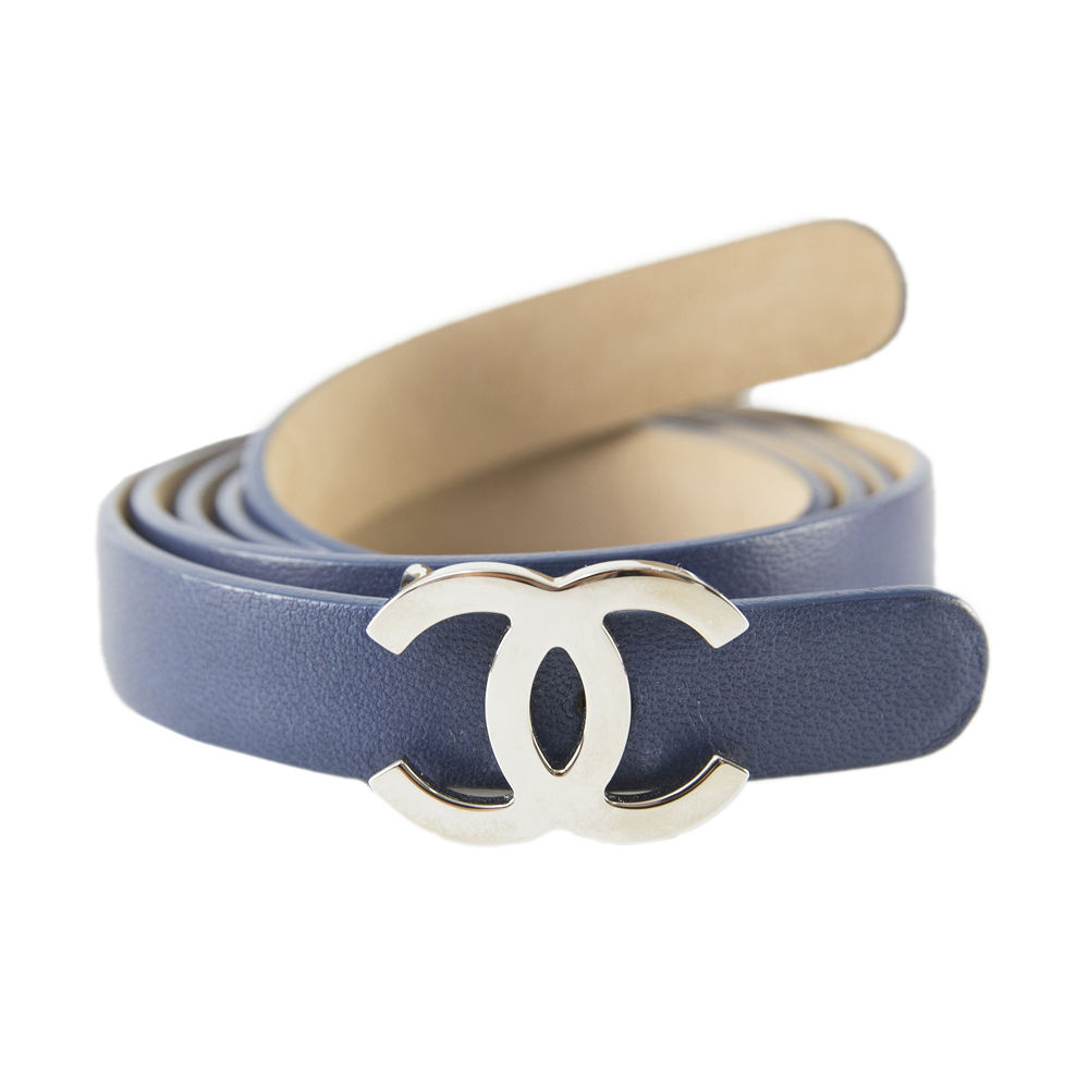 Chanel Blue Leather CC Buckle Narrow Belt 32 Inches 5f26496bd7