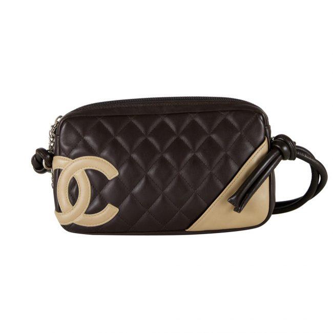 Chanel Black Beige Mini Cambon Bowler Tote Handbag
