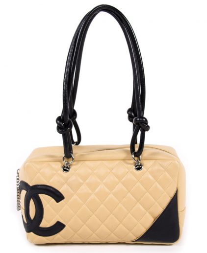 Chanel Beige And Black Large Bowler Handbag