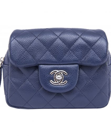 Chanel Blue Double Flap Handbag SHW