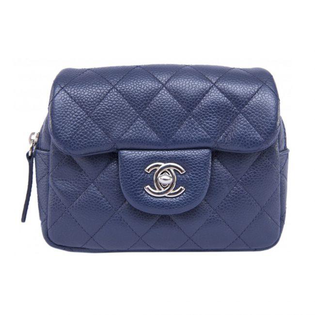 Chanel Blue Double Flap Handbag SHW