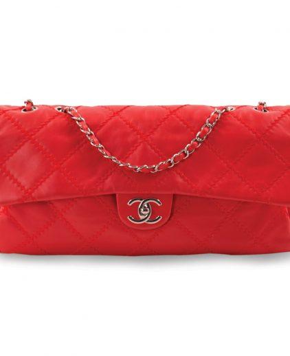 Chanel Red Rectangular Fl Classic Shoulder Handbag