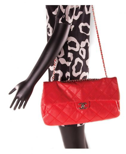 Chanel Red Rectangular Flap Classic Shoulder Handbag