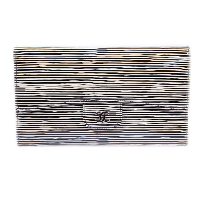 Chanel Black White Stripped Patent Leather Wallet