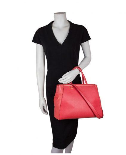 Fendi Red Orange Saffiano Leather 2jours Tote Handbag
