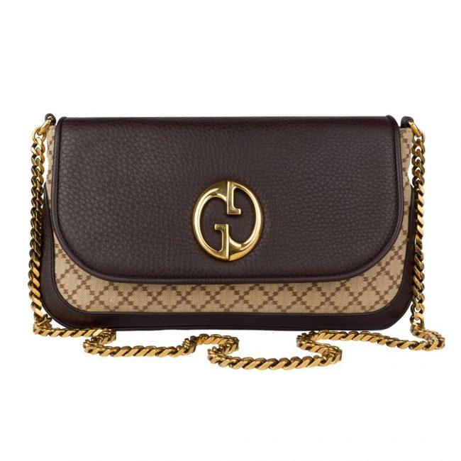 Gucci Canvas Leather 1973 Bucharest Chain Shoulder Handbag