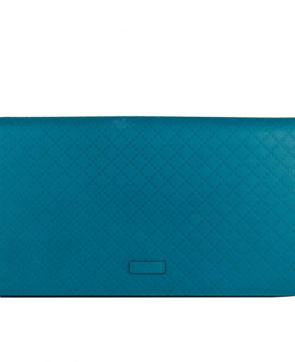 Gucci Blue Diamante Large Flap Leather Clutch