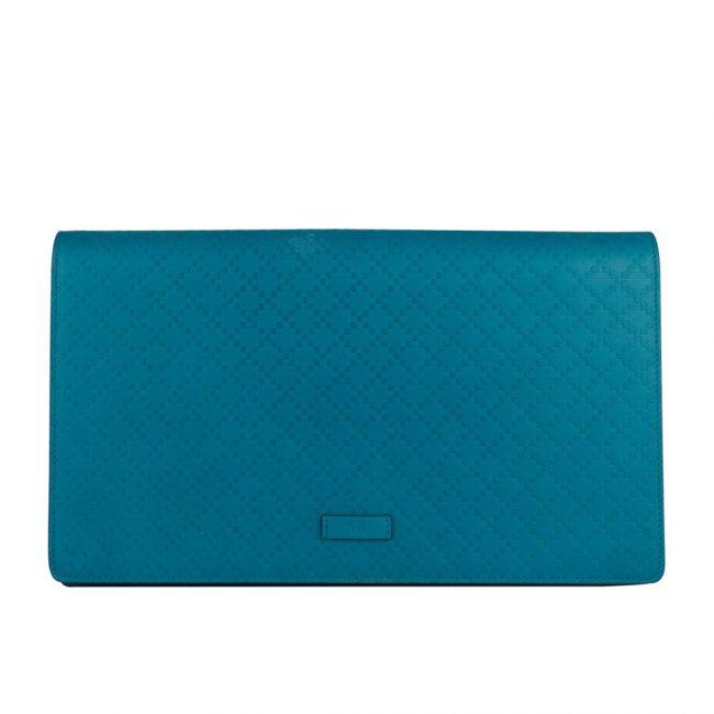 Gucci Blue Diamante Large Flap Leather Clutch