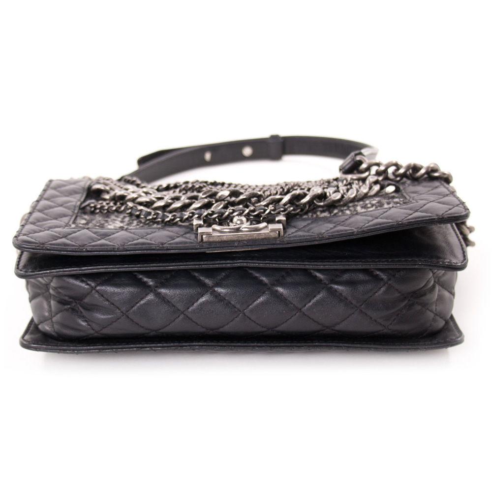 Chanel Black Leather Tweed Boy Flap Handbag
