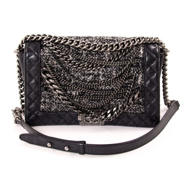 Chanel Black Leather Tweed Boy Flap Handbag