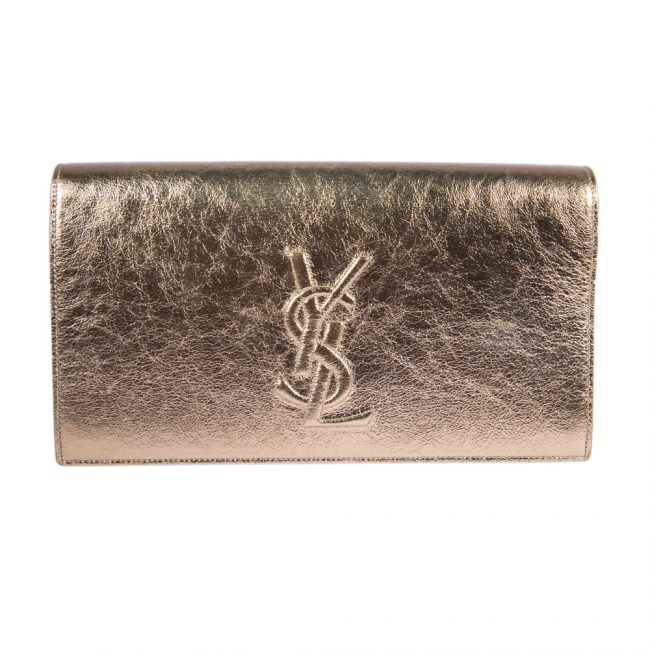 Saint Laurent Metallic Gold Belle De Jour Clutch