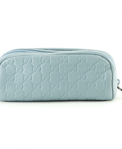 Gucci Blue Guccissima Leather Makeup Pouch