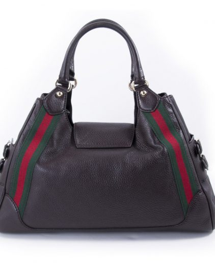 Gucci Large Black Leather Web Shoulder Handbag