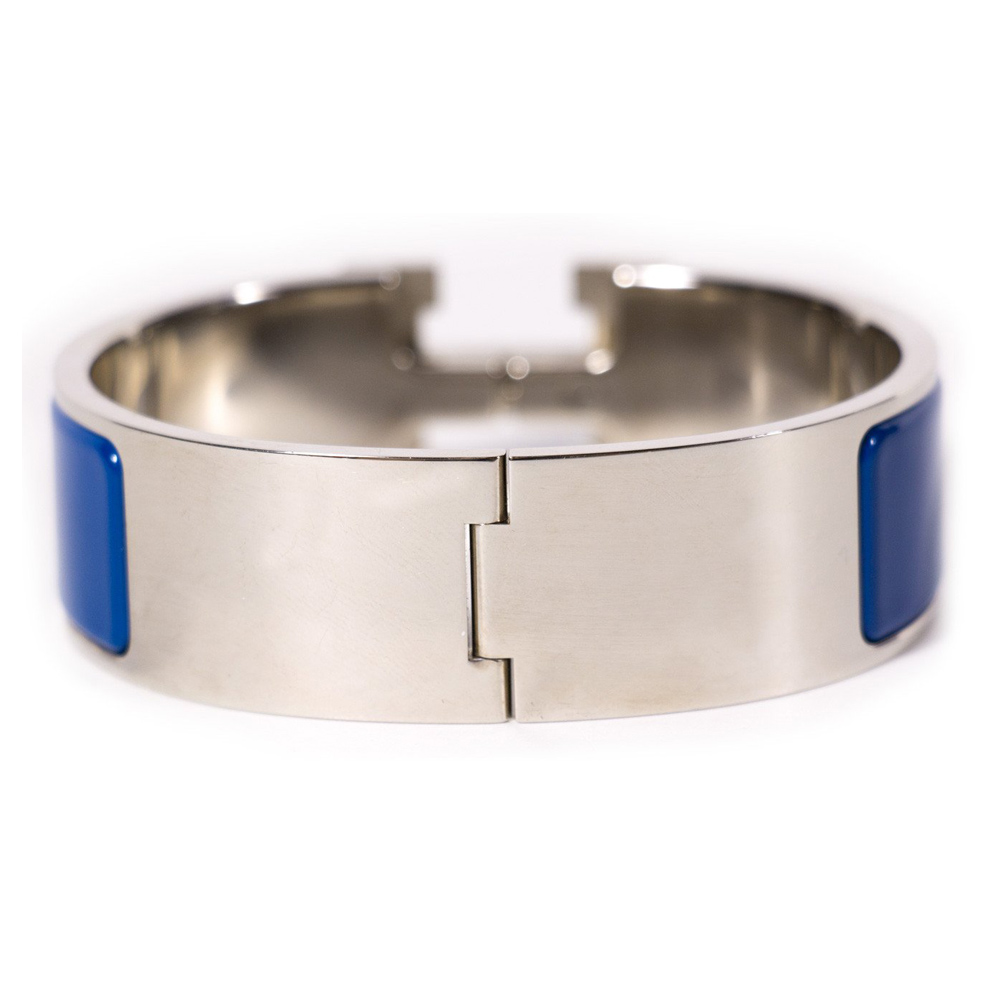 hermes clic clac h wide dark blue enamel bracelet. Black Bedroom Furniture Sets. Home Design Ideas