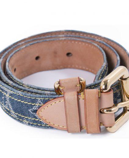Louis Vuitton Blue Denim Monogram Belt