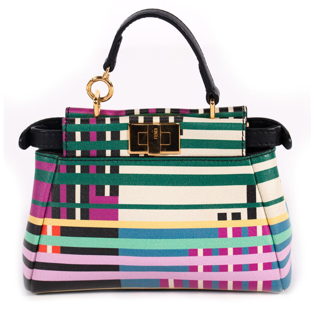 fendi multicolor stripe print leather micro peekaboo bag. Black Bedroom Furniture Sets. Home Design Ideas