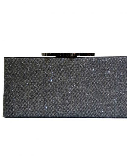 Jimmy Choo Dark Grey Glitter Fabric Celeste Clutch