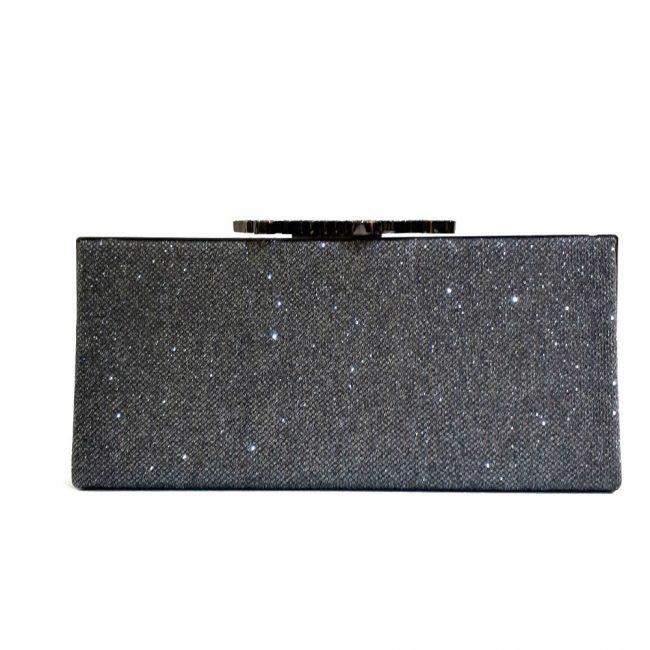Jimmy Choo Dark Grey Glitter Fabric Celeste Clutch