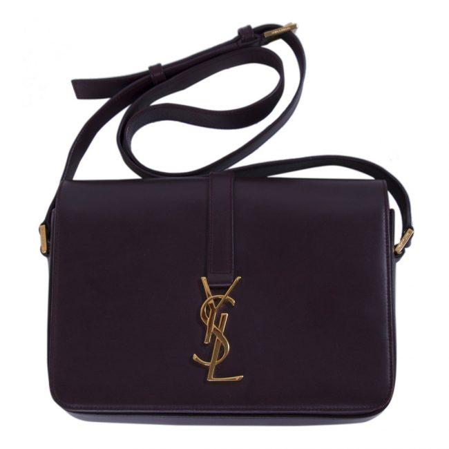 Saint Laurent Burgundy Leather Medium Universite Bag