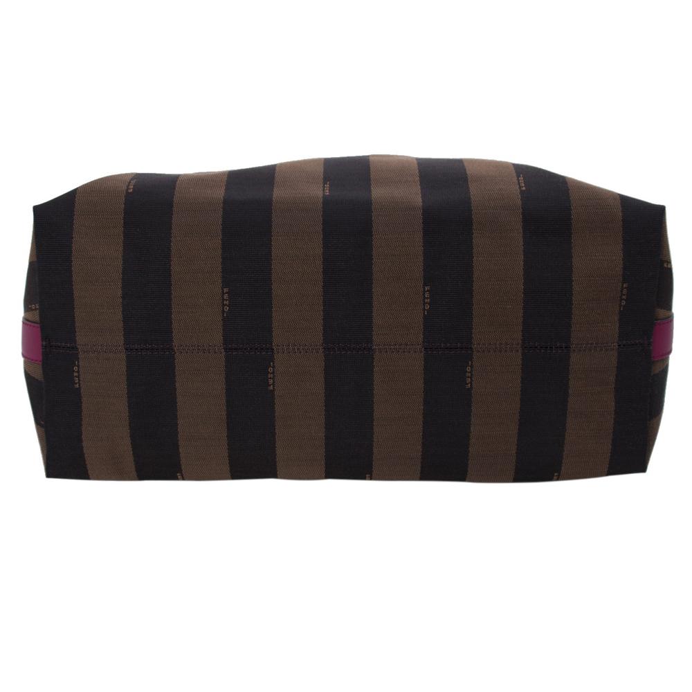 ee8808291c Fendi Brown Pink Pequin Stripe Canvas Hobo Handbag