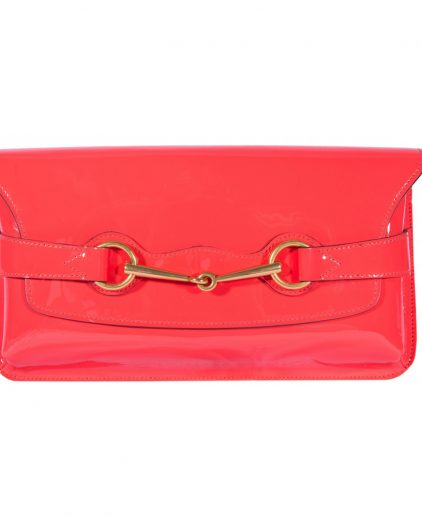 Gucci Pink Patent Leather Horse Bit Detail Clutch