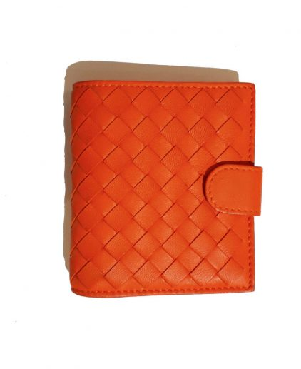 Bottega Veneta Orange Intrecciato Leather Mini Bi Fold Wallet