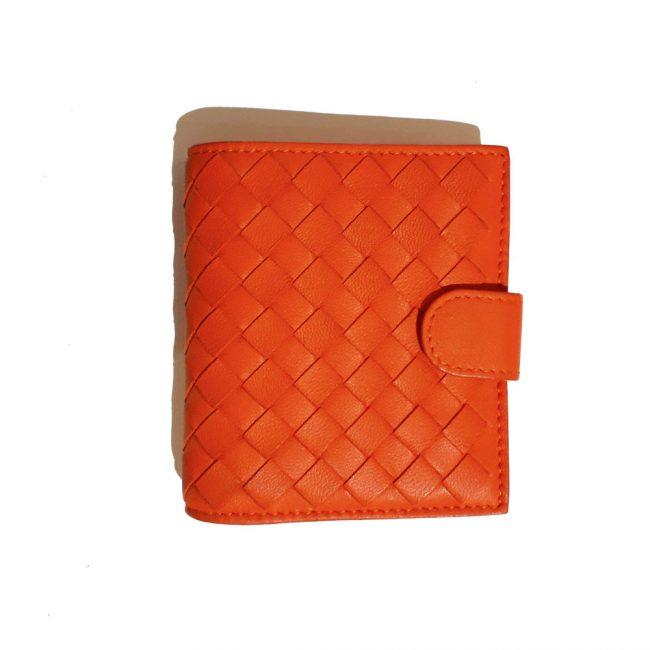 Bottega Veneta Orange Intrecciato Leather Mini Bi Fold Wallet
