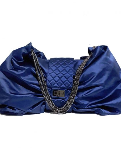 Chanel Blue Satin Large Bow Handbag