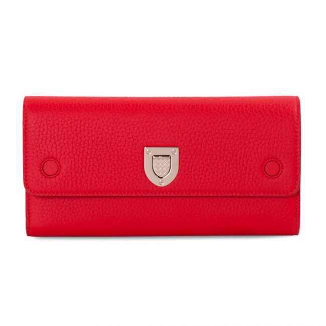 Dior Red Leather Diorama Wallet On Chain