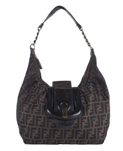Fendi Brown Zucchini Canvas B Bag