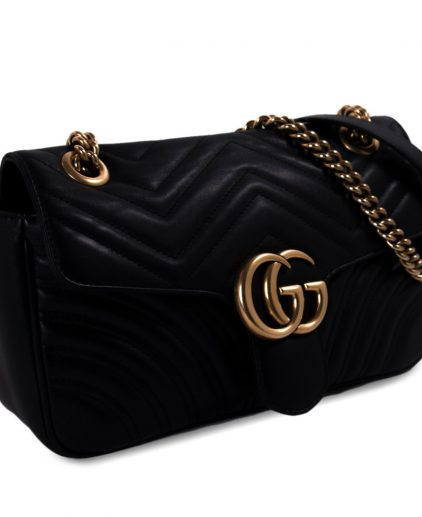 Gucci Black Matelasse Leather Medium GG Marmont Shoulder Bag