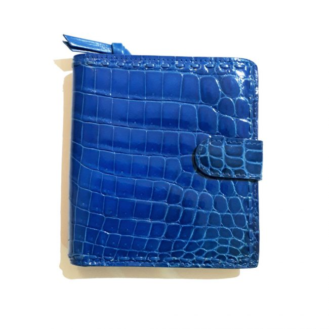 Bottega Veneta Blue Crocodile Leather Mini Wallet