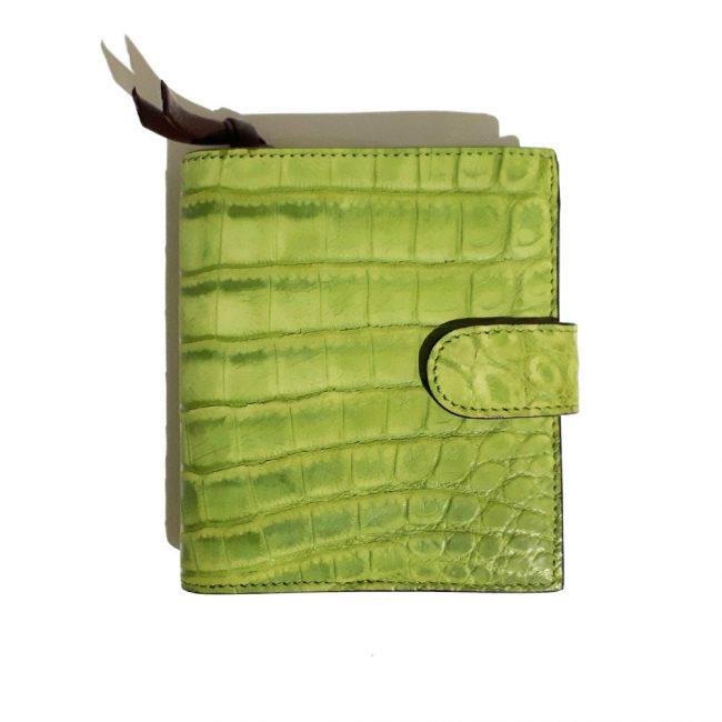 Bottega Veneta Green Crocodile Leather Mini Wallet