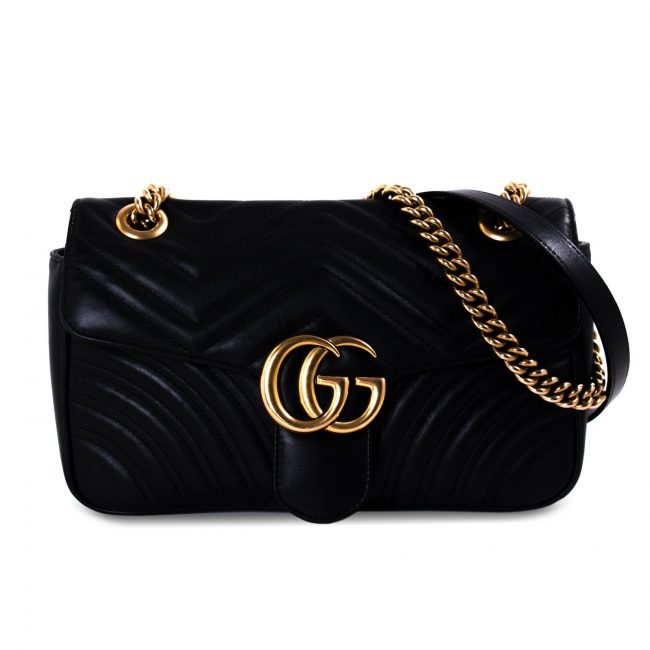 Gucci Black Matelasse Leather Medium GG Marmont Shoulder Bag