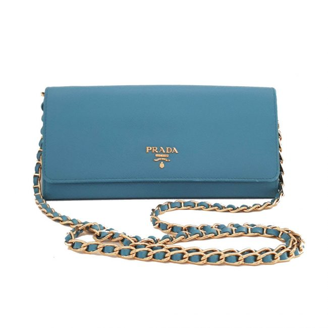 Prada Blue Saffiano Leather Wallet On Chain