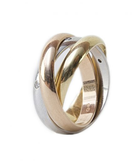 Cartier 18k Tricolor Diamond Trinity Ring