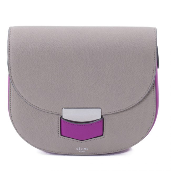 Celine Grey And Magenta Small Crossbody Handbag