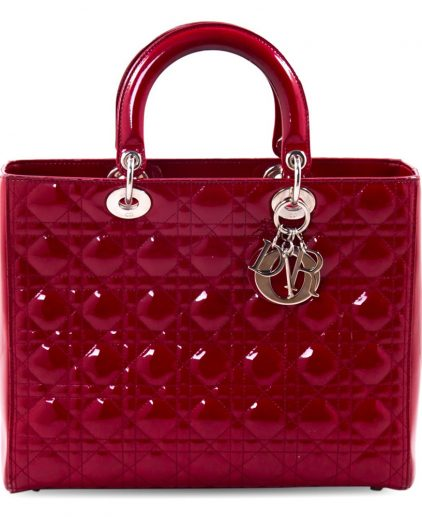 Dior Red Patent Leather Large Lady Dior Tote Handbag
